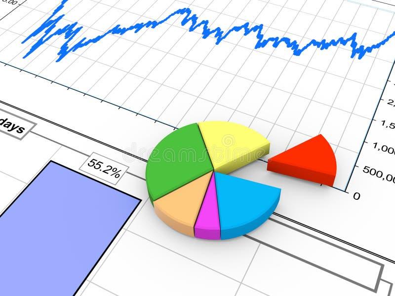 3d progress bar on financial report. 3d rendering of progress bar and pie chart on financial analysis report royalty free illustration