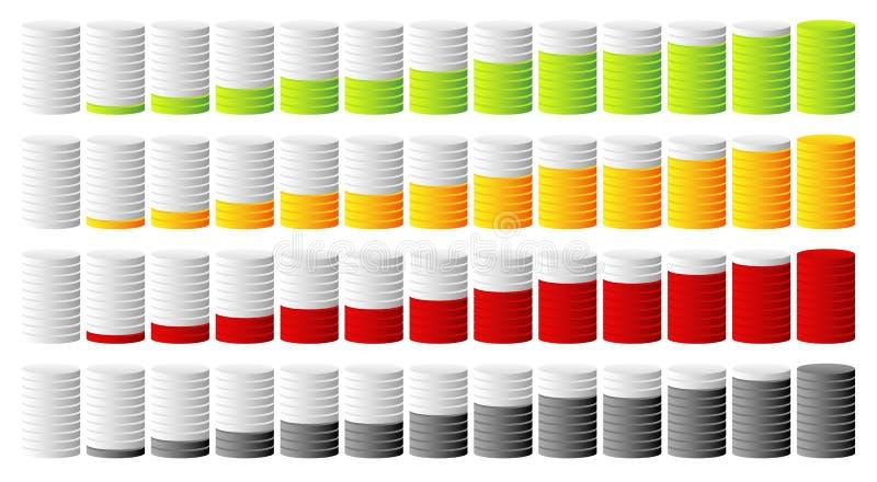 3d progresso cilíndrico, indicadores da etapa em mais cores ilustração royalty free