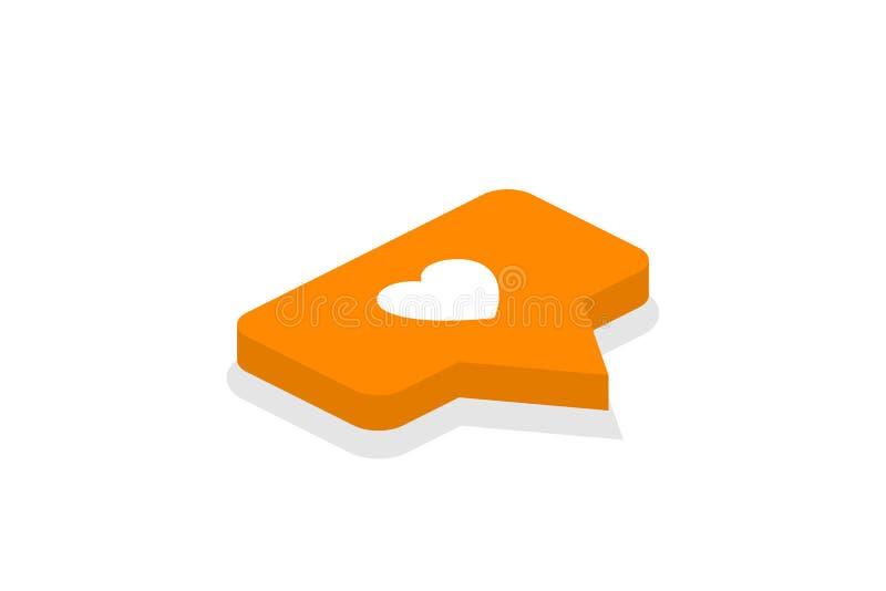 3D projekt Isometric ikona Jak ikona ilustracja powiadomienie na ogólnospołecznej sieci guzik ikona royalty ilustracja