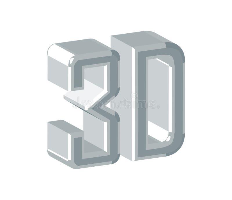 3 d projektu logo ilustracja wektor