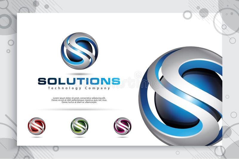 3d projeto do vetor do logotipo da letra S com estilo colorido moderno Ilustração 3d da letra S para a empresa da tecnologia ilustração stock