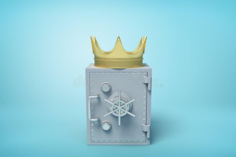 3d przód w górę renderingu zamknięta popielata metal skrytka z złotą koroną na wierzchołku na bławym tle royalty ilustracja