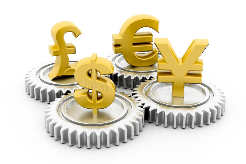 3d przekładnia z globalną walutą ilustracji