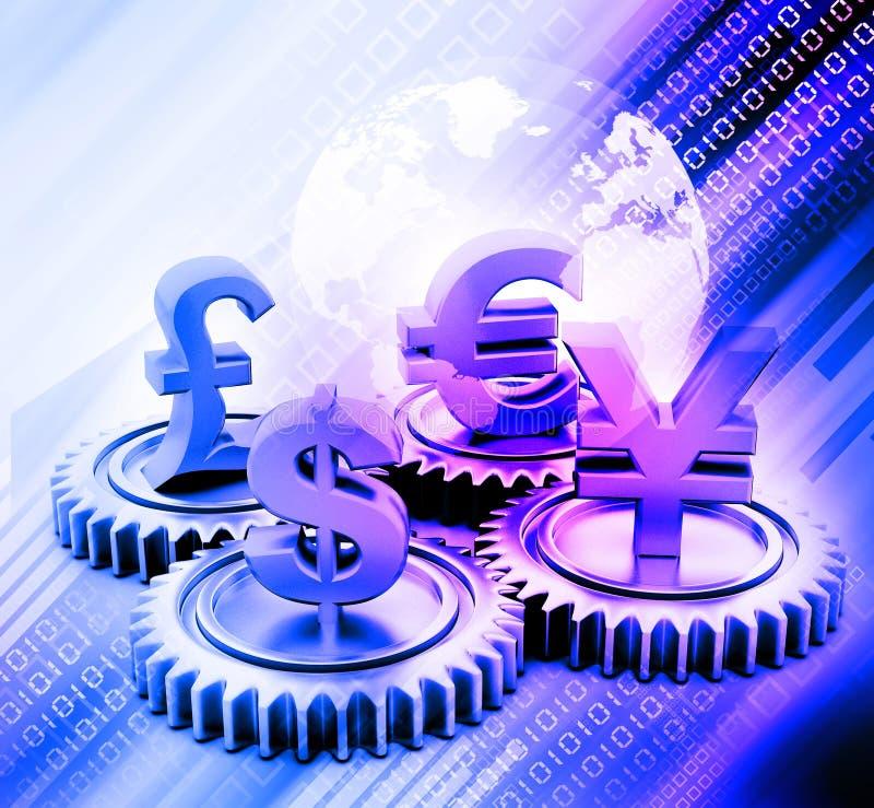 3d przekładnia z globalną walutą ilustracja wektor