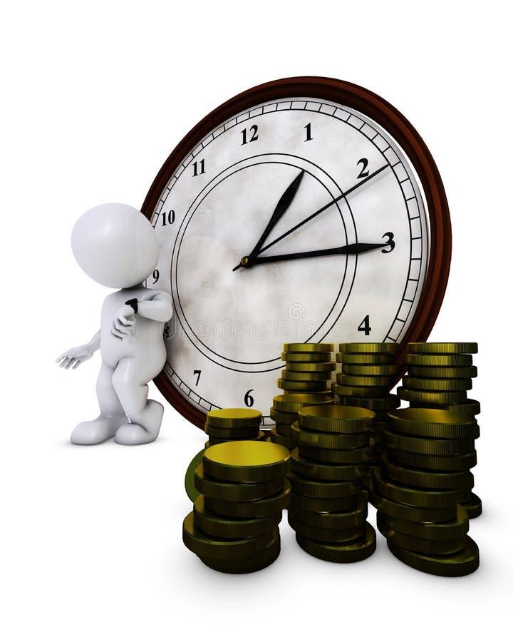 3D Przekształcać się mężczyzna czas jest pieniądze ilustracja wektor