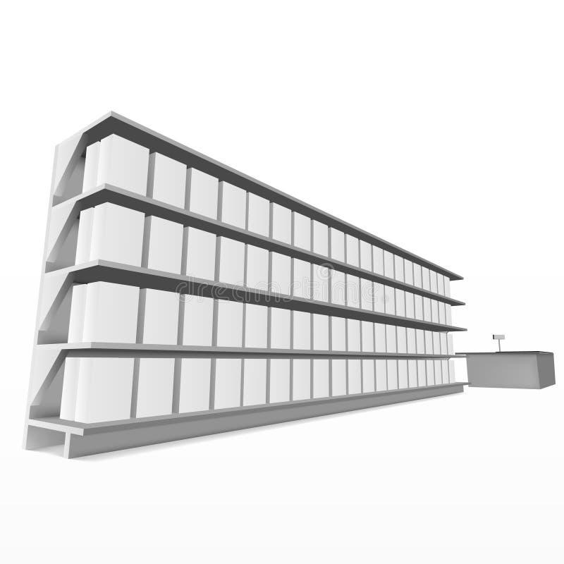 3D przepustki centrum handlowe Folujący Szelfowy sposób Spieniężać ilustracja wektor