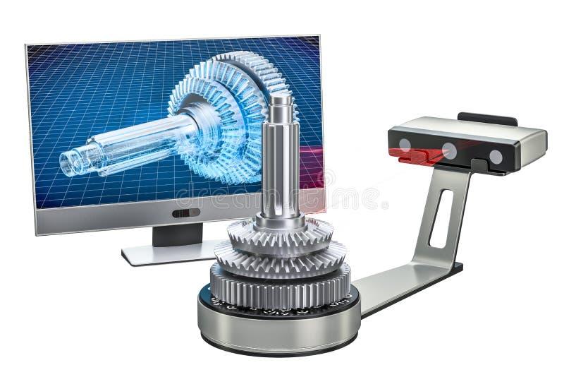 3d przeszukiwacza skanerowanie przedmiot z komputerowym monitorem, 3D renderin ilustracji