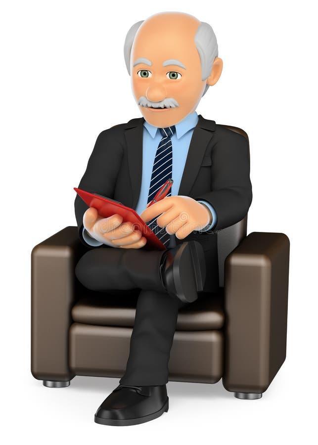3D Psycholoogzitting op bank het werken stock illustratie
