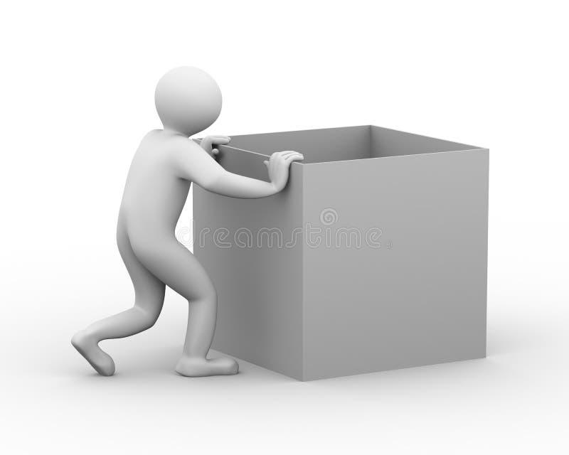 3d pudełka mężczyzna dosunięcie royalty ilustracja