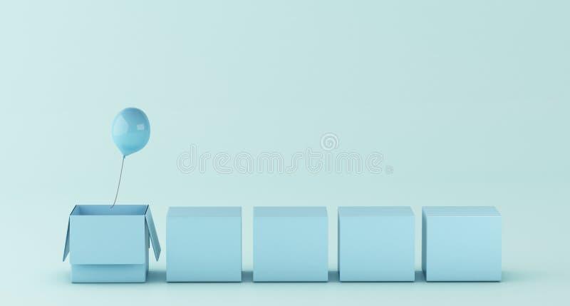 3d pudełko z balonowym na zewnątrz pudełka ilustracja wektor