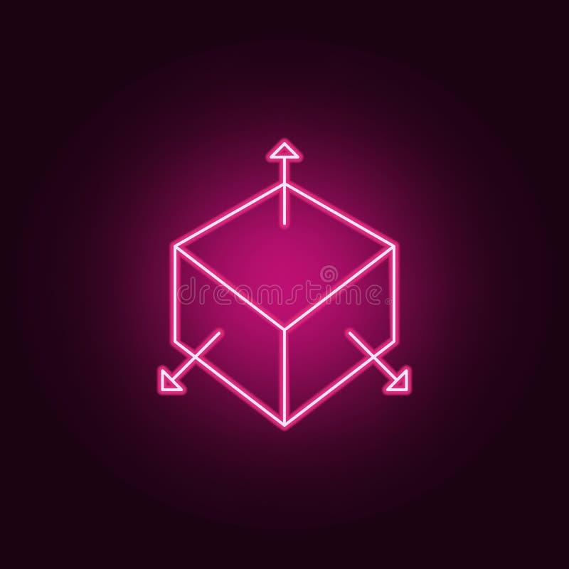 3d pudełko z strzały neonową ikoną Elementy miara set Prosta ikona dla stron internetowych, sie? projekt, mobilny app, ewidencyjn royalty ilustracja