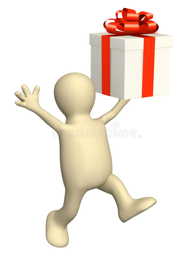 Download 3d puppet with gift stock illustration. Image of running - 32529128