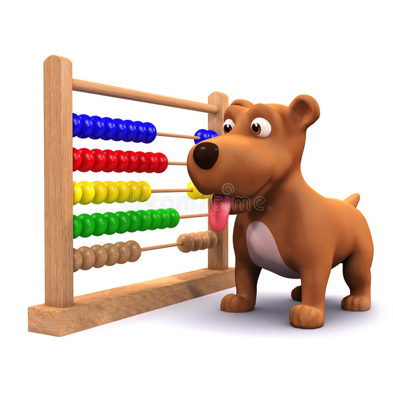 3d Puppy dog and abacus. 3d render of a puppy dog with an abacus vector illustration