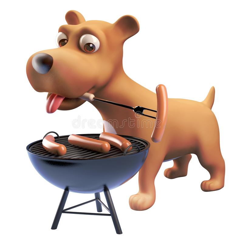 3d puppy dog cartoon character cooking sausages on a barbecue bbq, 3d illustration. Render royalty free illustration