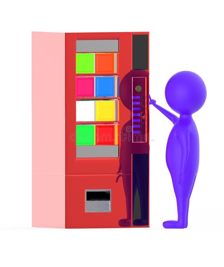 3d purper karakter die een knoop op een automaat drukken stock illustratie