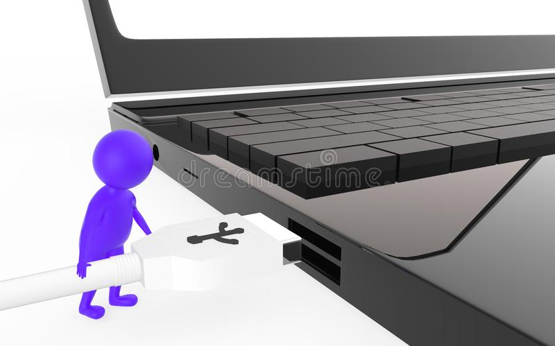 3d purple character is about to plug in a usb cable to a device usb port. Isolated in white background - 3d rendering stock illustration