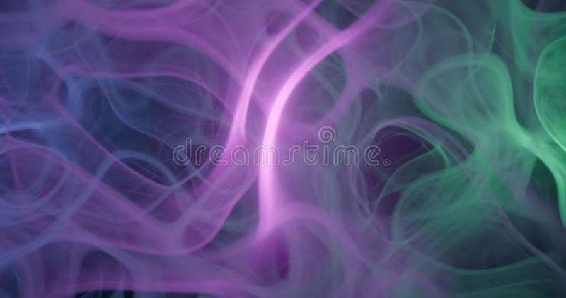 3d . Purple, pink and blue cloud smoke on black isolated background. illustration backgrounds. Magic fog stock photo