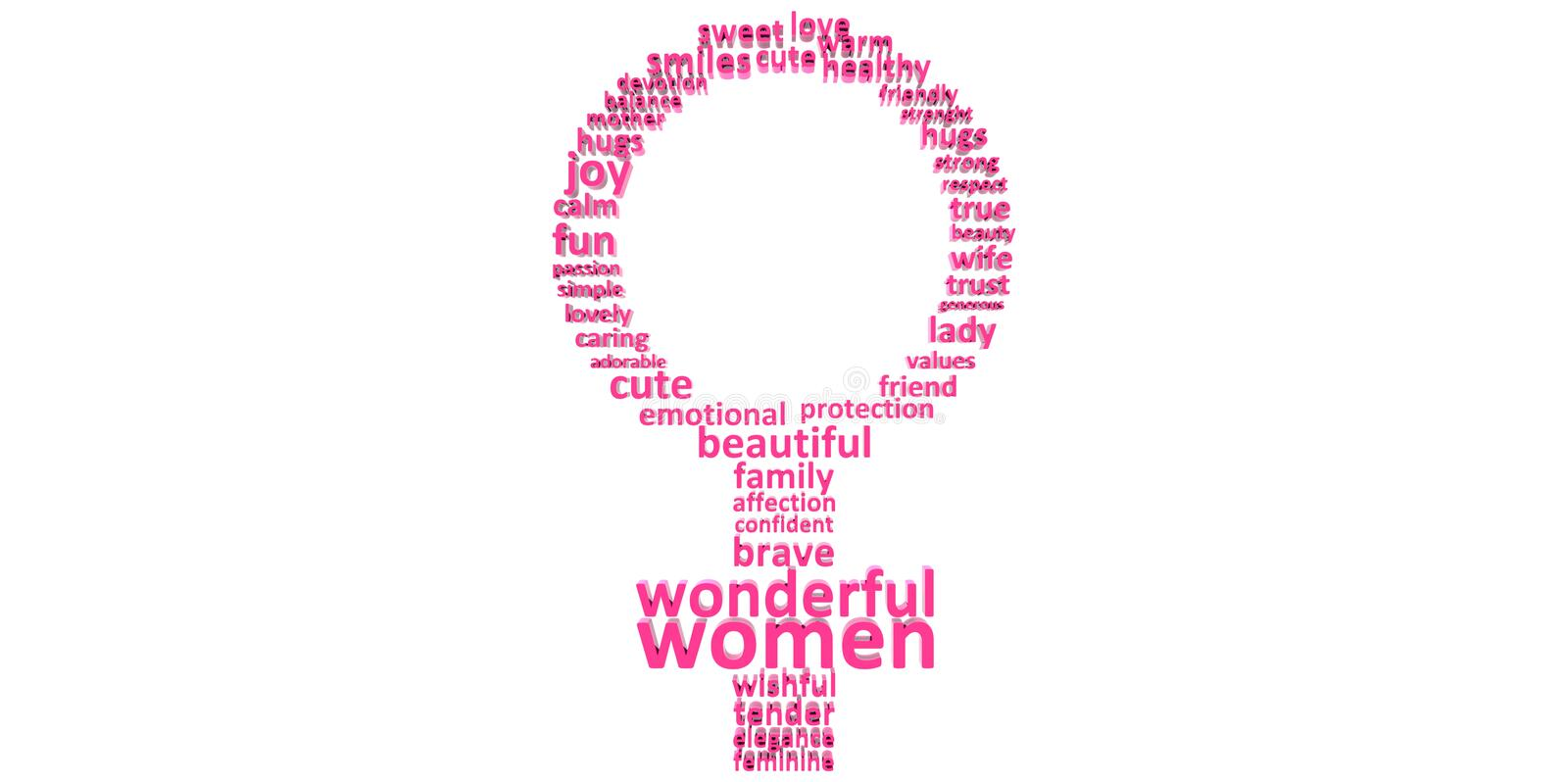 Download 3D Purple Pink Woman s Symbol Made Of Words Women s Mother s Day  Stock Illustration   Image. 3D Purple Pink Woman s Symbol Made Of Words Women s Mother s Day