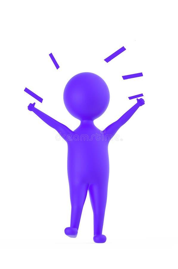 3d purpurowy charakter pokazuje szczęście, podniecenie, radość/ ilustracja wektor