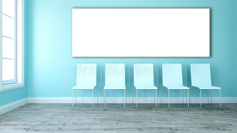 3D pusta kanwa w pokoju z linią krzesła royalty ilustracja