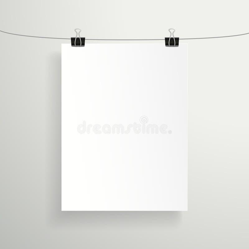 3d pustego papieru wektorowy prześcieradło na biel ścianie ilustracja wektor