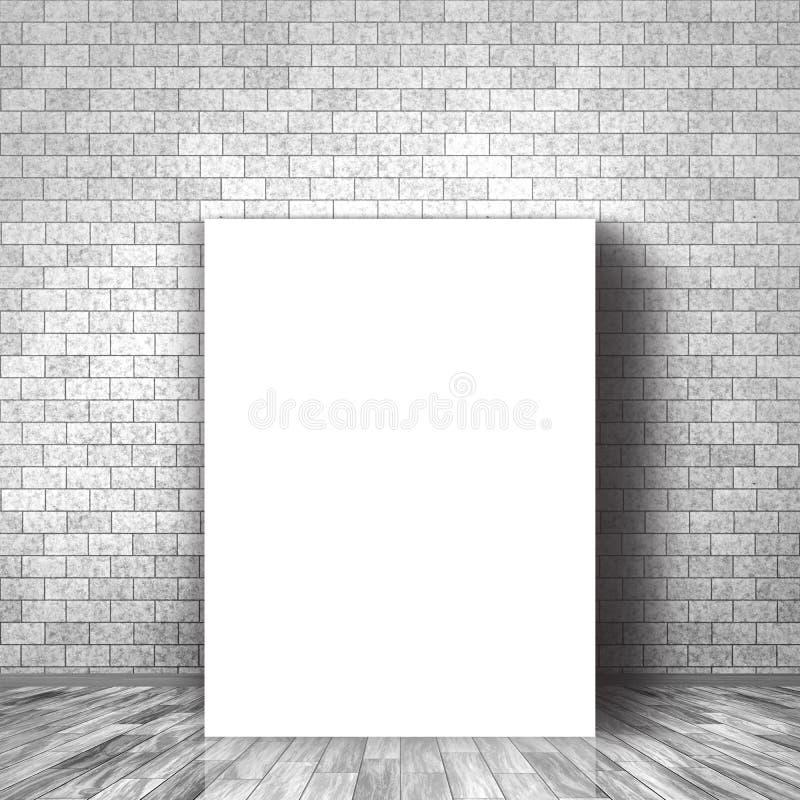 3D pusty brezentowy opierać przeciw ściana z cegieł ilustracja wektor