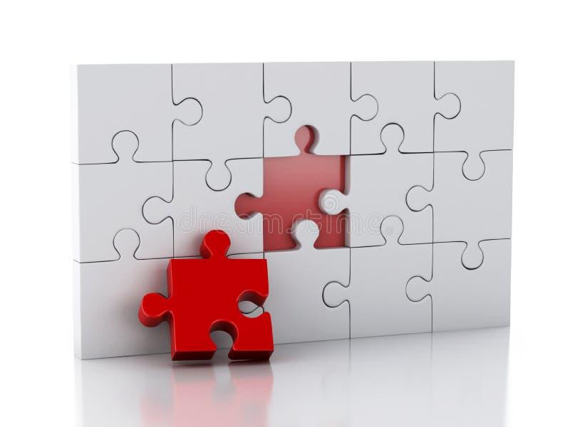 3D Puzzel Bedrijfscreativiteit en succesconcept royalty-vrije illustratie