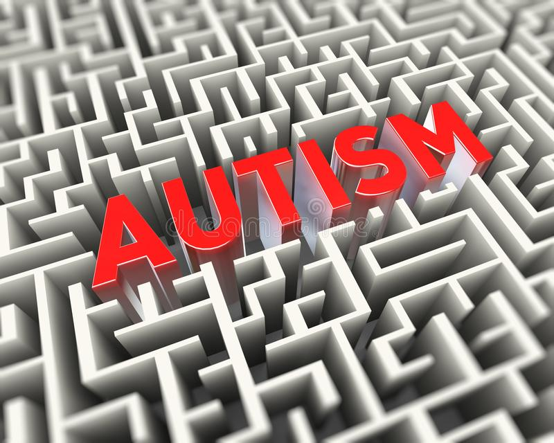 3d puzzle maze labyrinth of autism concept. 3d rendering of red word text autism inside puzzle maze labyrinth royalty free illustration