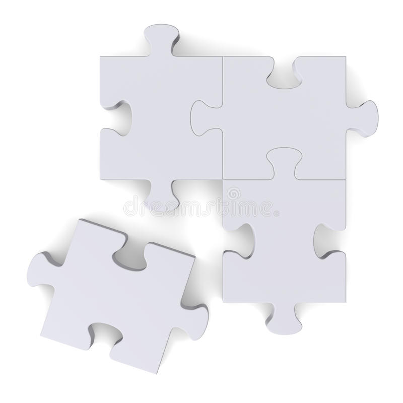 3d puzzle with missing piece on white, top view royalty free illustration