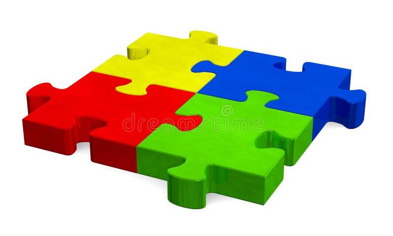 3d puzzle multicolore, vista di prospettiva royalty illustrazione gratis