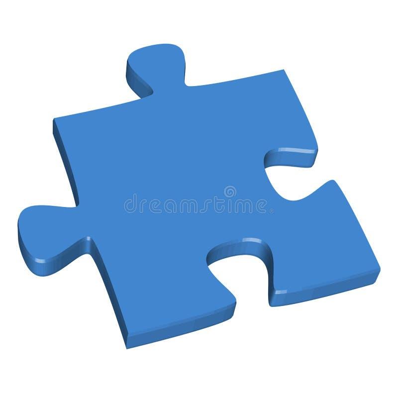 3D puzzle piece blue. Colored puzzle piece teamwork symbolism vector illustration