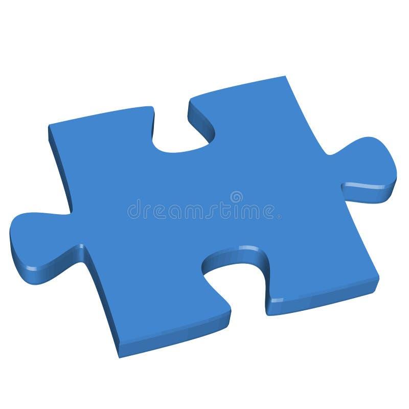 3D puzzle piece blue. Three dimensional puzzle piece colored blue for connection concepts stock illustration