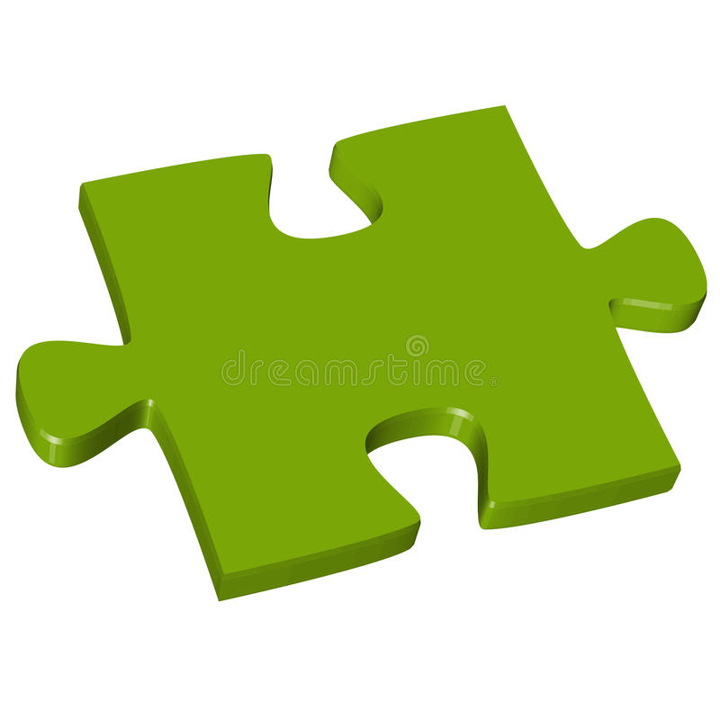 3D Puzzle piece green. Colored puzzle piece teamwork symbolism stock illustration
