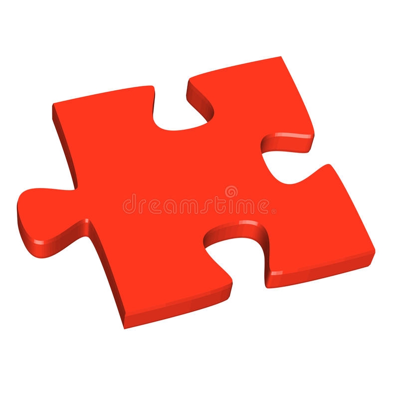 3D puzzle piece red. Three dimensional puzzle piece colored red vector illustration