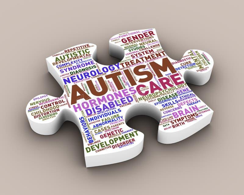3d puzzle piece shape of autism wordcloud tag. 3d rendering of puzzle shape piece word cloud tag of autism concept royalty free illustration