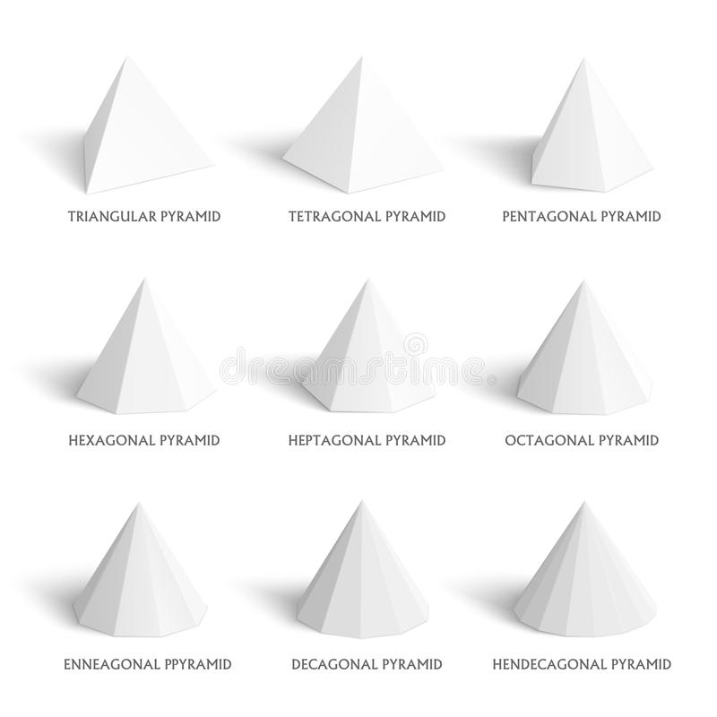 Download 3d Pyramids Template Realistic With Shadow Stock Vector