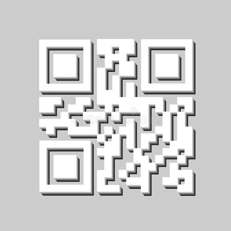 3D QR-code voor Aftasten, geïsoleerd Streepjescodepictogram Modern eenvoudig 3D streepjescodeteken Marketing, Internet-concept vector illustratie