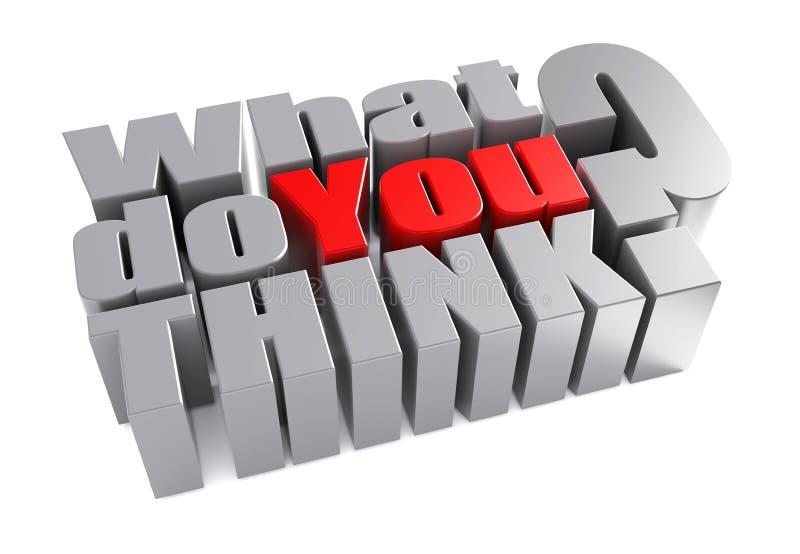 3d qué usted piensan la pregunta de la encuesta stock de ilustración