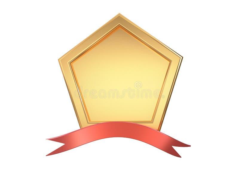 3d quadro metálico vazio do ângulo-quadrado do ouro cinco e fundo branco da fita vermelha ilustração do vetor