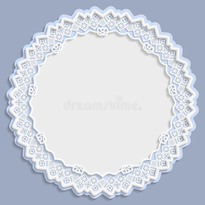 3D quadro redondo, vinheta com ornamento, quadro do laço, ornamento do bas-relevo, teste padrão festivo, teste padrão branco, cum ilustração do vetor