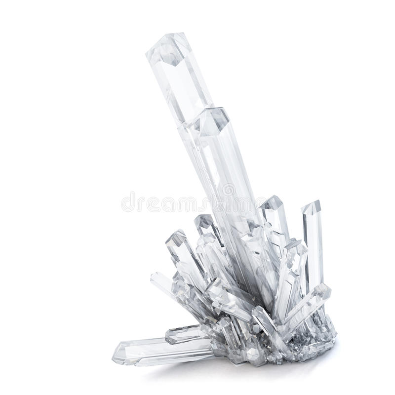 3D Quartz crystals. Isolated. Contains clipping path vector illustration