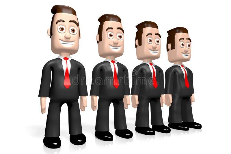 3D quatro homens de negócios - conceito dos trabalhos de equipe ilustração stock