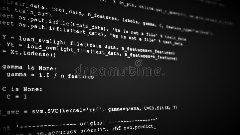 3D que corta o córrego do fluxo de dados do código no preto Tela com símbolos de datilografia da codificação imagem de stock
