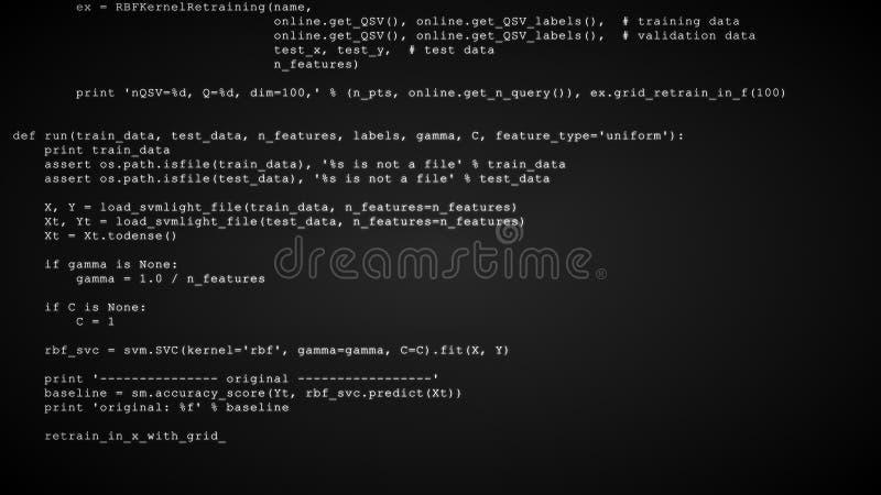 3D que corta o córrego do fluxo de dados do código no preto Tela com símbolos de datilografia da codificação fotos de stock royalty free