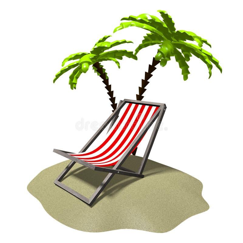 3D que descansa, conceito das palmeiras ilustração do vetor