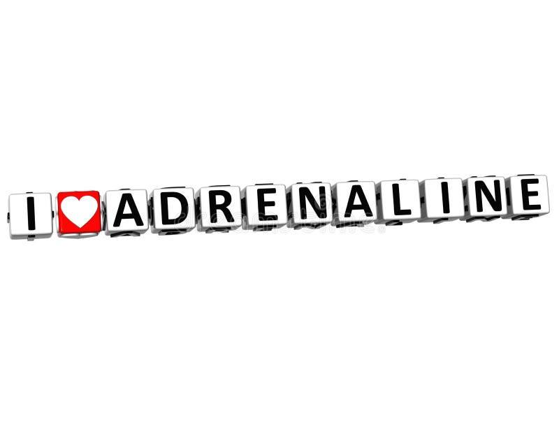 3D que eu amo o botão da adrenalina clicam aqui o texto do bloco ilustração stock