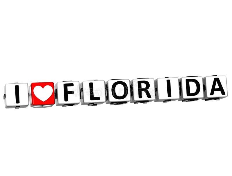 3D que eu amo o botão de Florida clicam aqui o texto do bloco ilustração do vetor