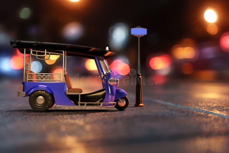 3D que hace compuesto con una fotografía de Tuk Tuk en vista lateral foto de archivo libre de regalías