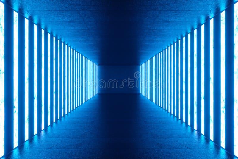 3D que hace el sitio azul abstracto interior con las lámparas de neón azules Fondo futurista de la configuración Maqueta para su ilustración del vector