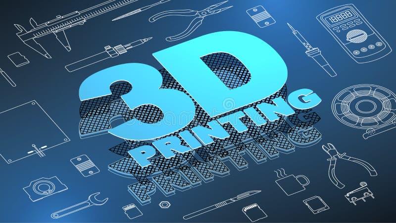 3d que imprime el fondo isométrico stock de ilustración